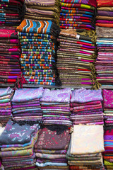 Fabrics on the market in Fes, Morocco