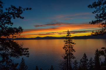 Amazing view of Lake Tahoe sunset