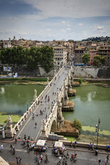 Italy, Rome, view of the Tevere River and St. Angel Bridge