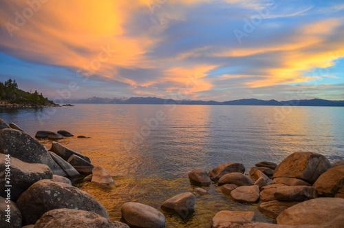 Fotobehang Natuur Park Lake Tahoe sunset