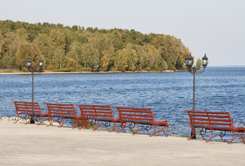 lantern and benches on the lakeside promenade