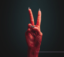 Devil hand with peace hand sign