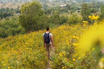 Man walking on flower meadow