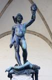 Perseus killed Medusa statue on Piazza della Signoria in Florenc poster