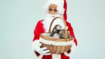 Santa Claus gives a basket of kittens