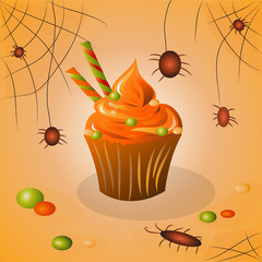 cupcake on halloween candy and spiders