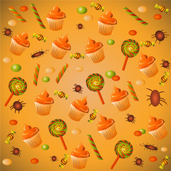 Halloween background with cupcakes and candy