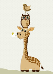 Cute giraffe with owl and bird