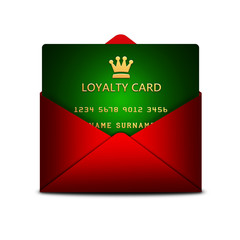 loyalty card in envelope isolated over white