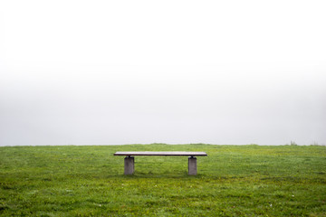 Empty park bench in grass on day with heavy fog