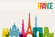 Travel France destination landmarks skyline illustration - 71506389