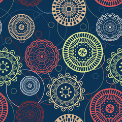 Vector seamless hand-drawn pattern with abstract flowers. Colorf