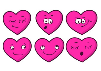 Set of cartoon heart emotions. Valentine's greeting card. Vector
