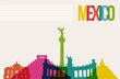 Travel México destination landmarks skyline background