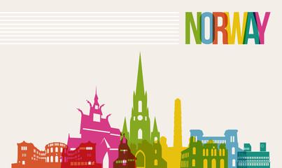 Travel Norway destination landmarks skyline background
