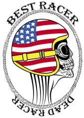 Skull Dead Motorcycle Vintage Motorbike Race Hand drawing