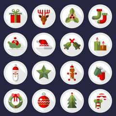 Christmas icons buttons set