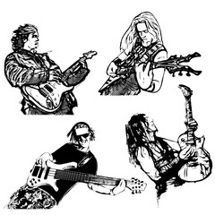 four guitar players