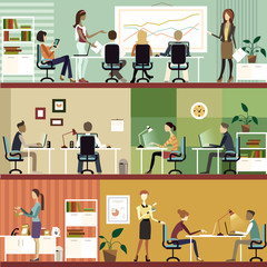 Business People in the office flat illustration
