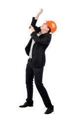 Cowering Man Wearing Suit and Hard Hat