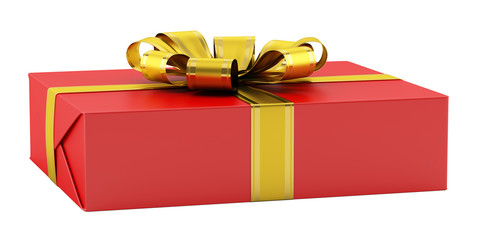 red gift box with golden ribbon isolated on white background