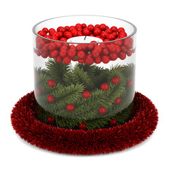 christmas table decoration with candle isolated on white backgro