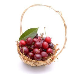 Cherry in basket isolated on white background