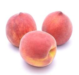 Ripe peach fruit isolated on white background