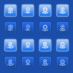 Flowers icons for web on blue buttons.