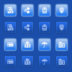 Banking icons for web on blue buttons.
