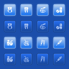 Medicine icons for web on blue buttons.