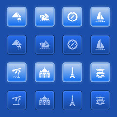 Travel icons for web on blue buttons.
