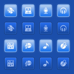 Audio video icons for web on blue buttons.