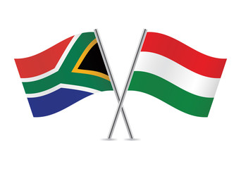 Hungarian and South African flags. Vector illustration.