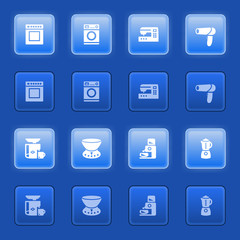 Home appliances icons for web on blue buttons.