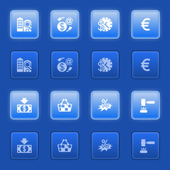 Commerce icons for web on blue buttons.