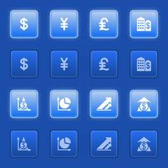 Finance icons for web on blue buttons.