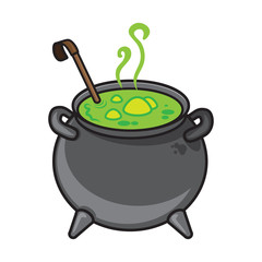 Halloween cartoon kettle with potion isolated on white.