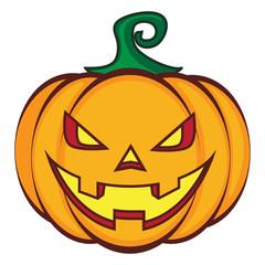 Halloween cartoon pumpkin jack lantern isolated on white.