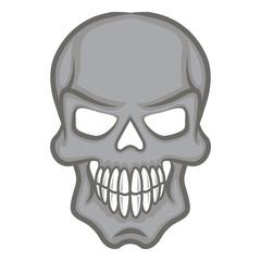 Halloween cartoon scull isolated on white.
