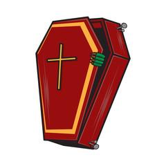 Halloween cartoon coffin isolated on white.
