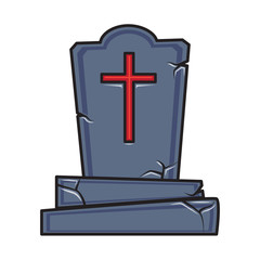 Halloween cartoon grave monument isolated on white.