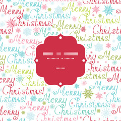 Vector merry christmas text frame seamless pattern background