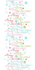 Vector merry christmas text vertical border seamless pattern