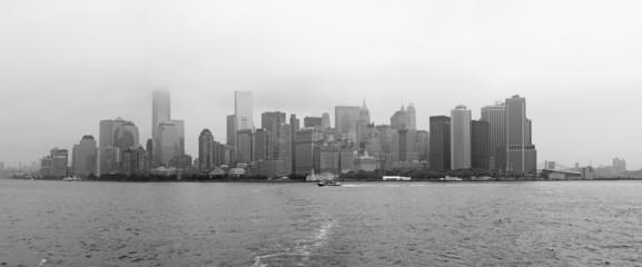 Manhattan skyline panorama black and white