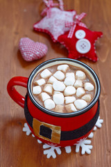 Santa belt mugs with hot chocolate and marshmallows