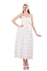 Woman wearing wedding dress on white