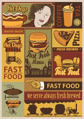 banners set on fast food in a retro style