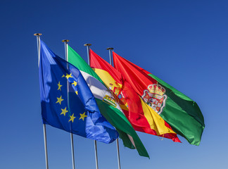 Spain EC Portugal Flags Granada Andalusia Spain