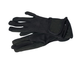 black economy gloves for riding  isolated on white